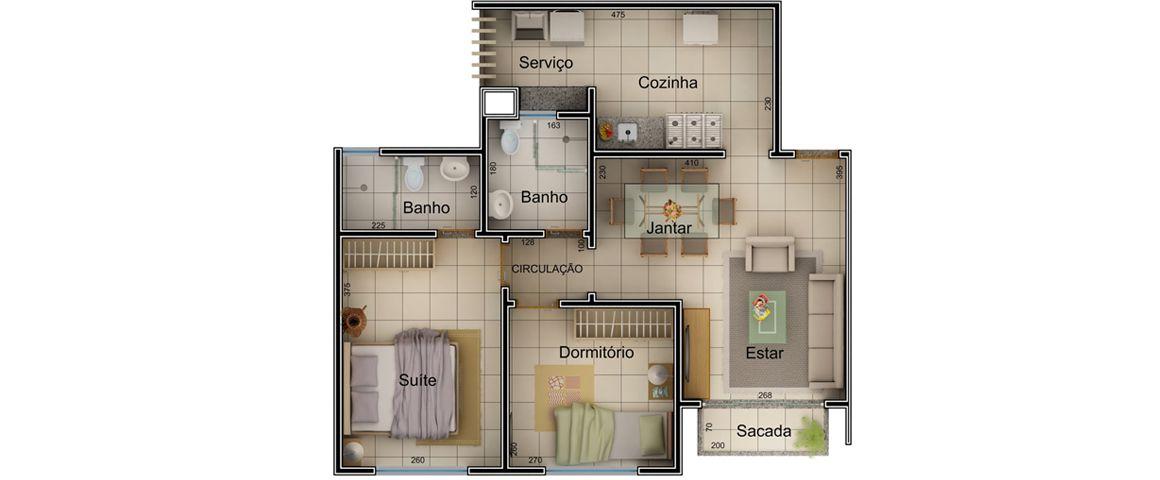 Planta - 56,6 m²