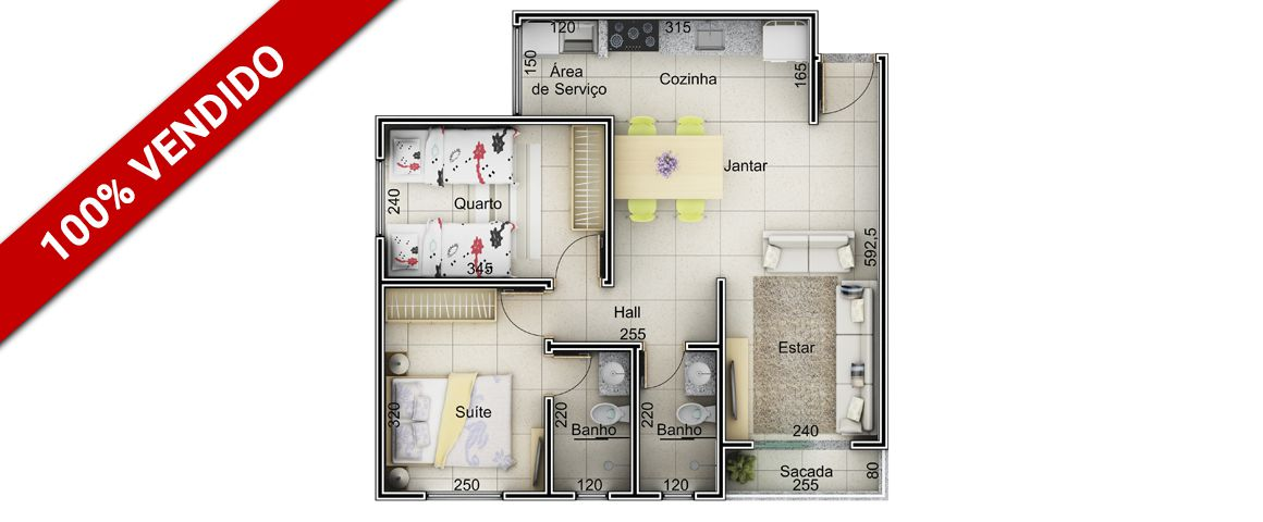 Planta - 57,0 m²